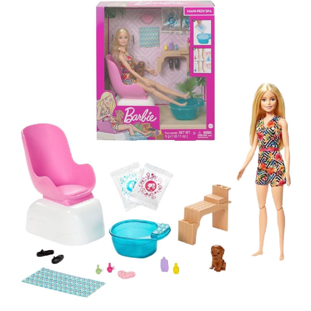 Boneca Barbie Loira Salão De Manicure E Pedicure Com Pet E Acessórios Mattel