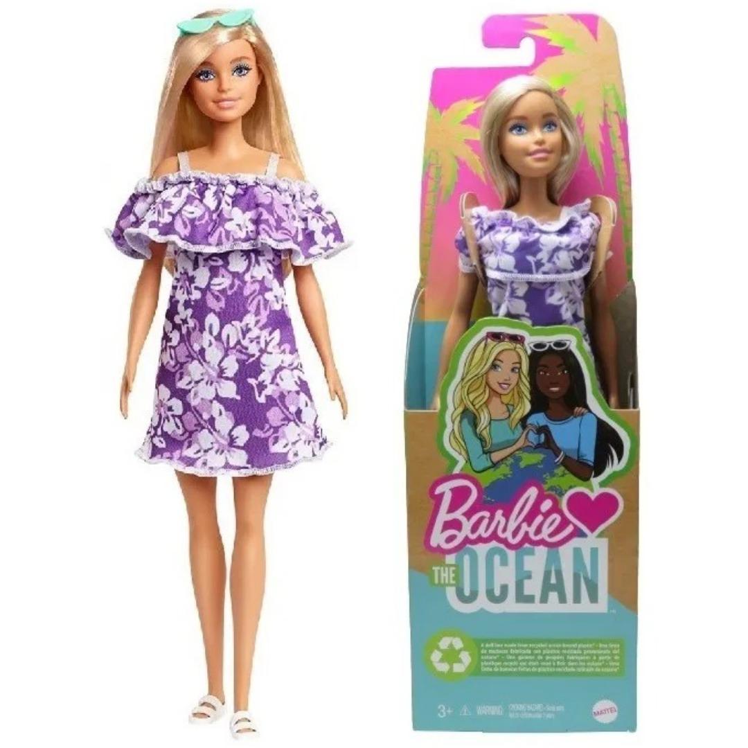 Boneca Barbie Malibu Loira Loves The Ocean Produzida Em Plástico Recicl Retirado do Oceano Mattel