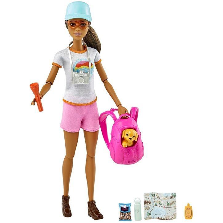 Boneca Barbie Morena Caminhada Com Filhote De Cachorrinho + Acessórios Mattel