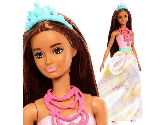 Boneca Barbie Princesa Morena Vestido Rosa E Amarelo Mattel