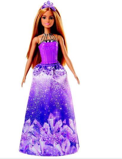 Boneca Barbie Princesa Morena Vestido Roxo Mattel
