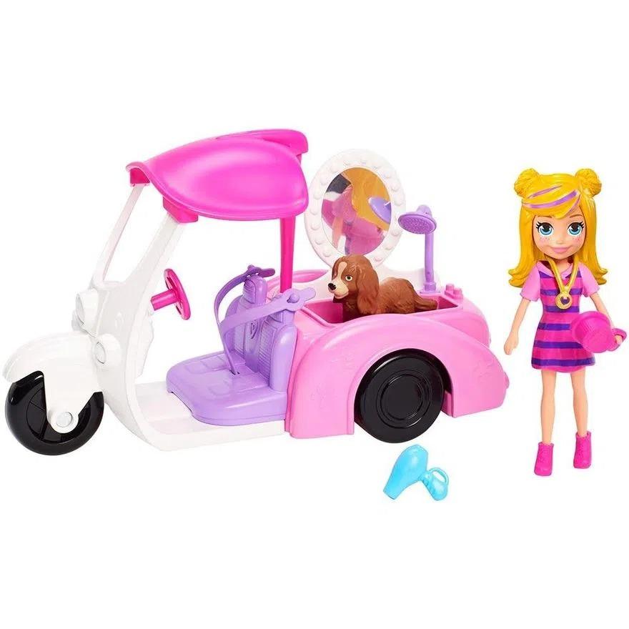 Boneca Polly Pocket Veículo Banho De Cachorrinho Com Boneca E Acessórios Mattel