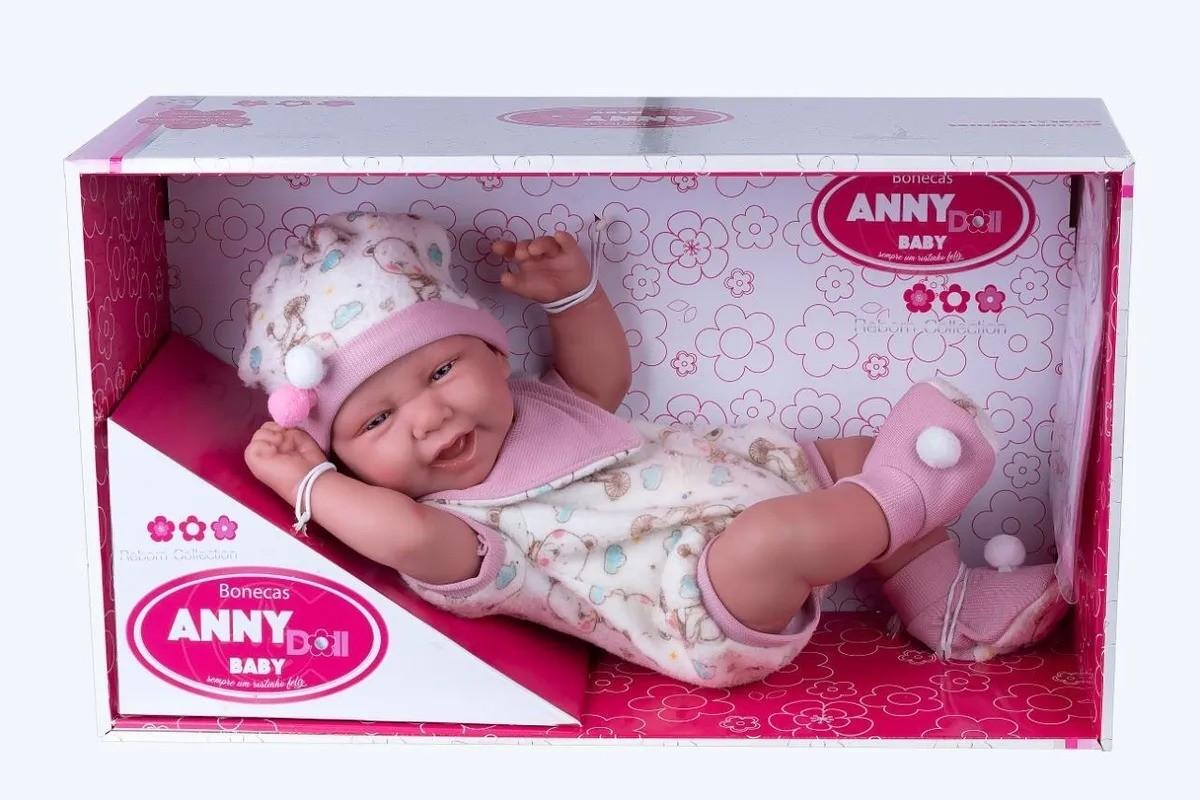 Boneca Reborn Anny Dolls Menina Macacão 2442 Cotiplás