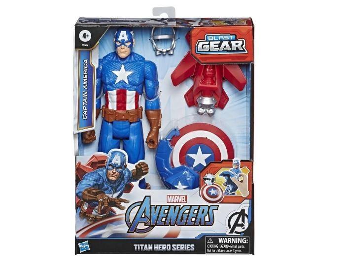 Boneco Articulado Capitão América Marvel Avengers Titan Hero Series Blast Gear Hasbro