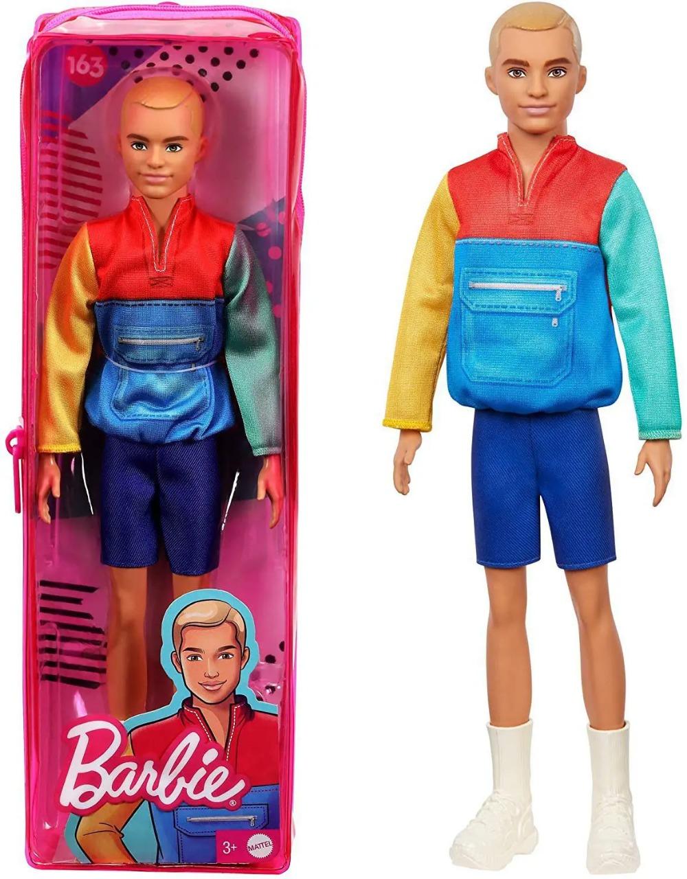 Boneco Barbie Ken Fashionista Cabelo Loiro Esculpido Usando Blusa Estilo jaqueta Modelo 163 Mattel