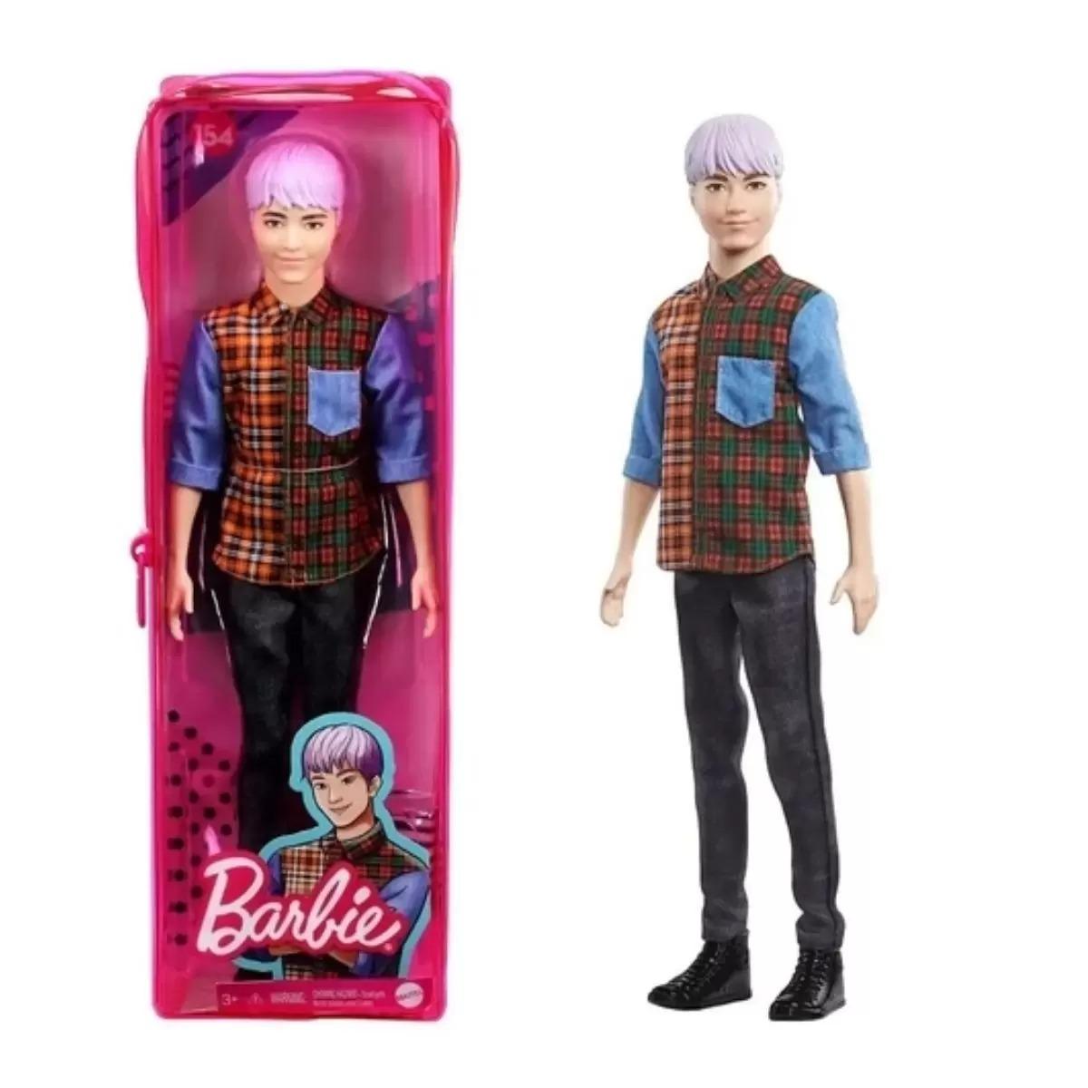 Boneco Barbie Ken Fashionista Cabelo Roxo E Camiseta Xadrez Modelo 154 Mattel