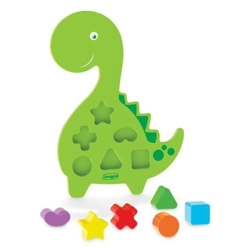 Brinquedo Didático Pedagógico Educativo Em Madeira MDF Dinossauro Verde Junges