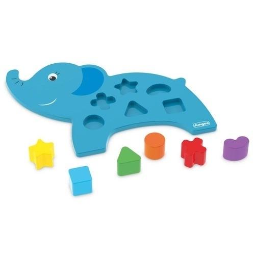 Brinquedo Didático Pedagógico Educativo Em Madeira MDF Elefante Azul Junges