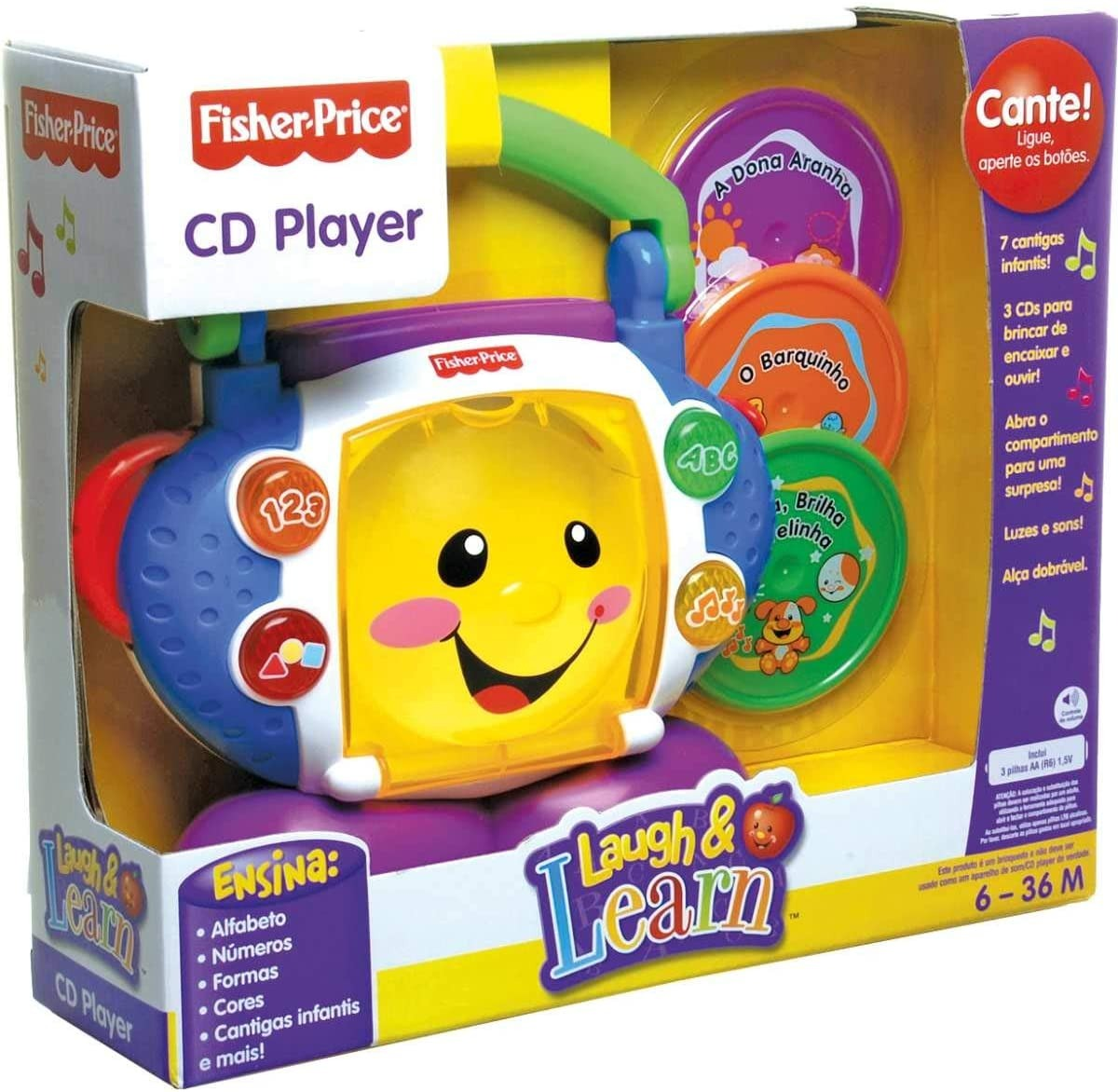 Brinquedo Educativo Cd Player Aprender E Brincar Fisher Price Com Canções E Luzes
