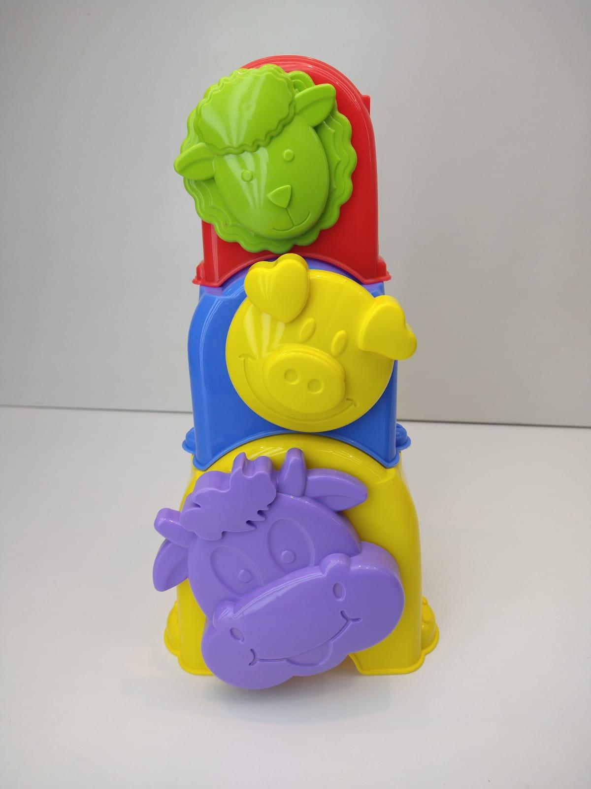 Brinquedo Educativo Colorido Anima Cubos Sacola 3 Peças Empilháveis Calesita