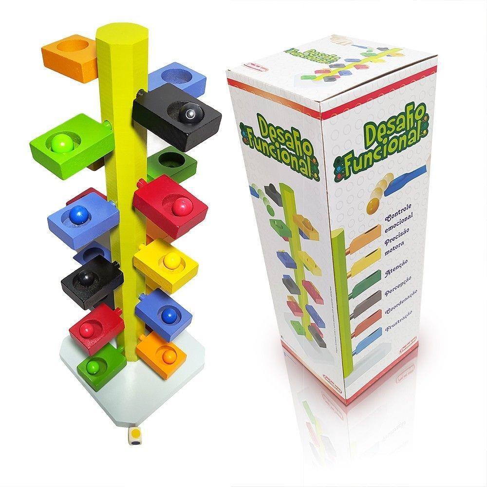 Brinquedo Educativo Desafio Funcional 4935 em Madeira Carimbras