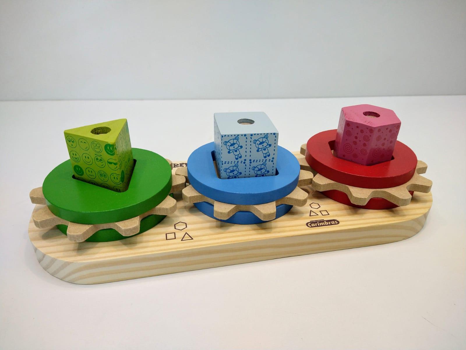 Brinquedo Educativo Engrena Roda Em Madeira 4340 Carimbras