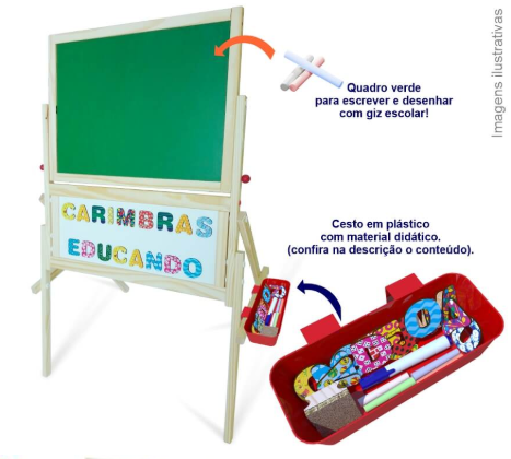 Brinquedo Educativo Quadro Magnético 3 em 1 em Madeira 4925 Carimbras