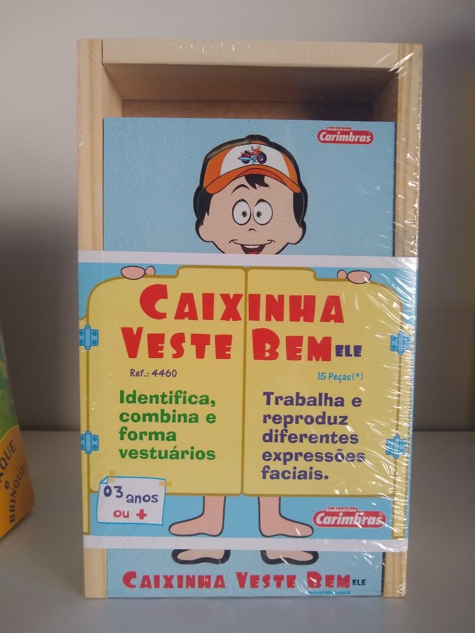 Caixinha Veste Bem Ele em Madeira 4460 Carimbras