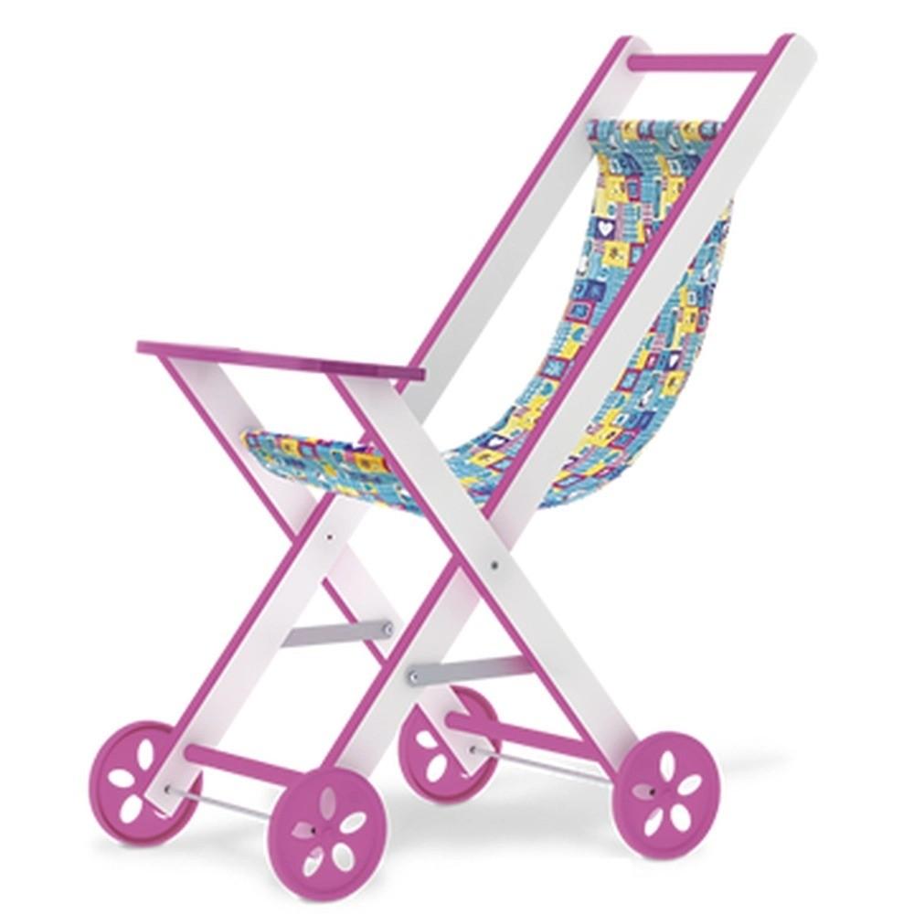 Carrinho De Boneca Em Mdf Baby Car Rosa Junges