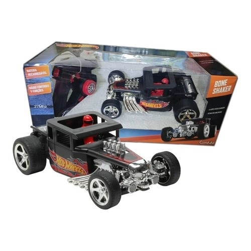 Carrinho de Controle Remoto Bone Shaker Hot Wheels Com Luzes Nos Faróis 7 Funções E Som De Motor Candide