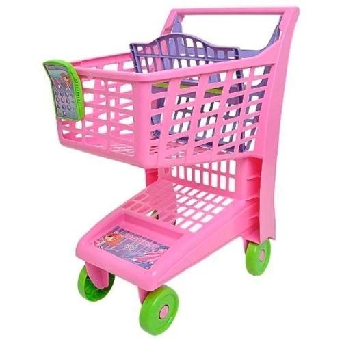 Carrinho De Supermercado Infantil Market Rosa Com Suporte Para Boneca Magic Toys