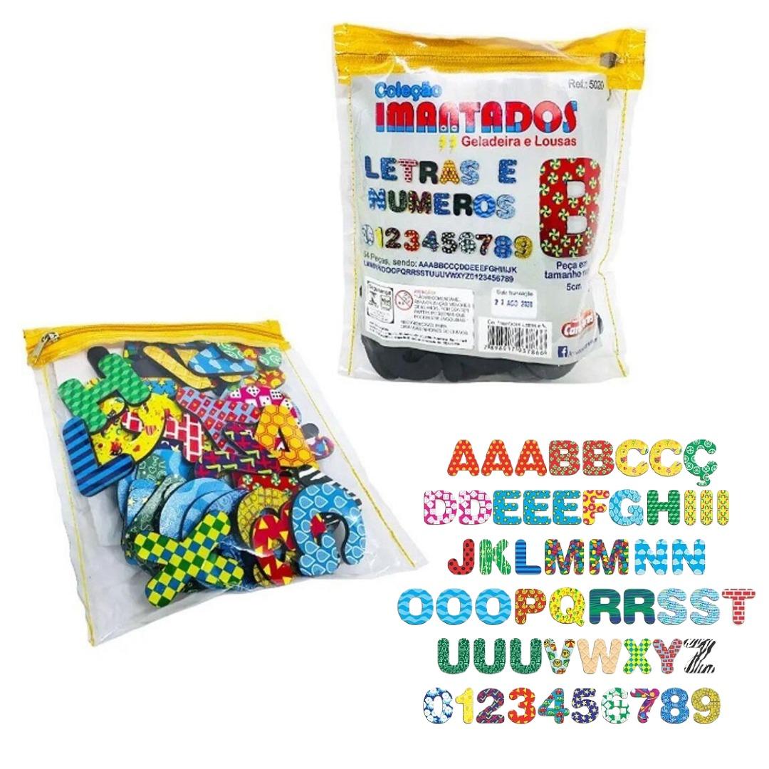 Coleção Letras E Números Imantados 5cm Para Geladeiras E Lousas Carimbras 5020