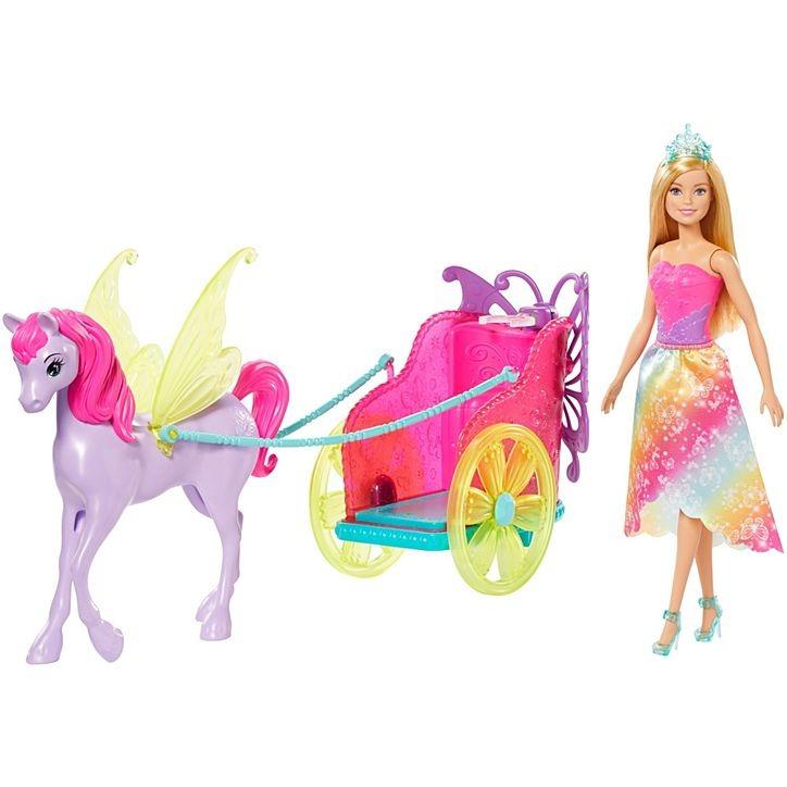 Conjunto Barbie Dreamtopia Carruagem Com Boneca Princesa Loira Mattel