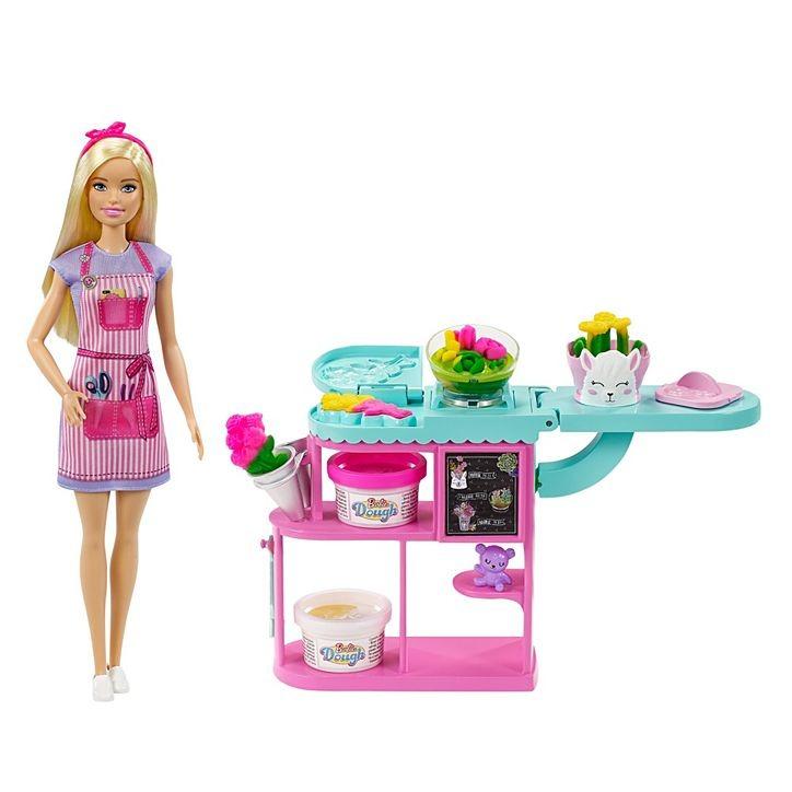 Conjunto Barbie Profissões Florista Loira Loja De Flores Com Massa De Modelar Mattel
