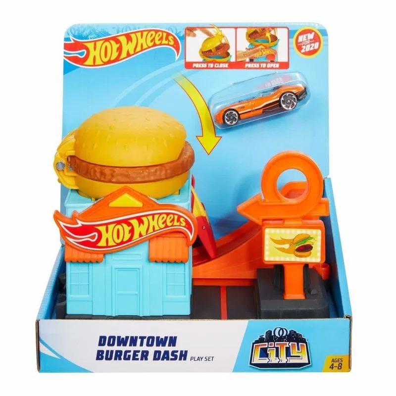Conjunto Básico Hot Wheels City Loja De Hambúrguer Com 01 Carrinho Mattel