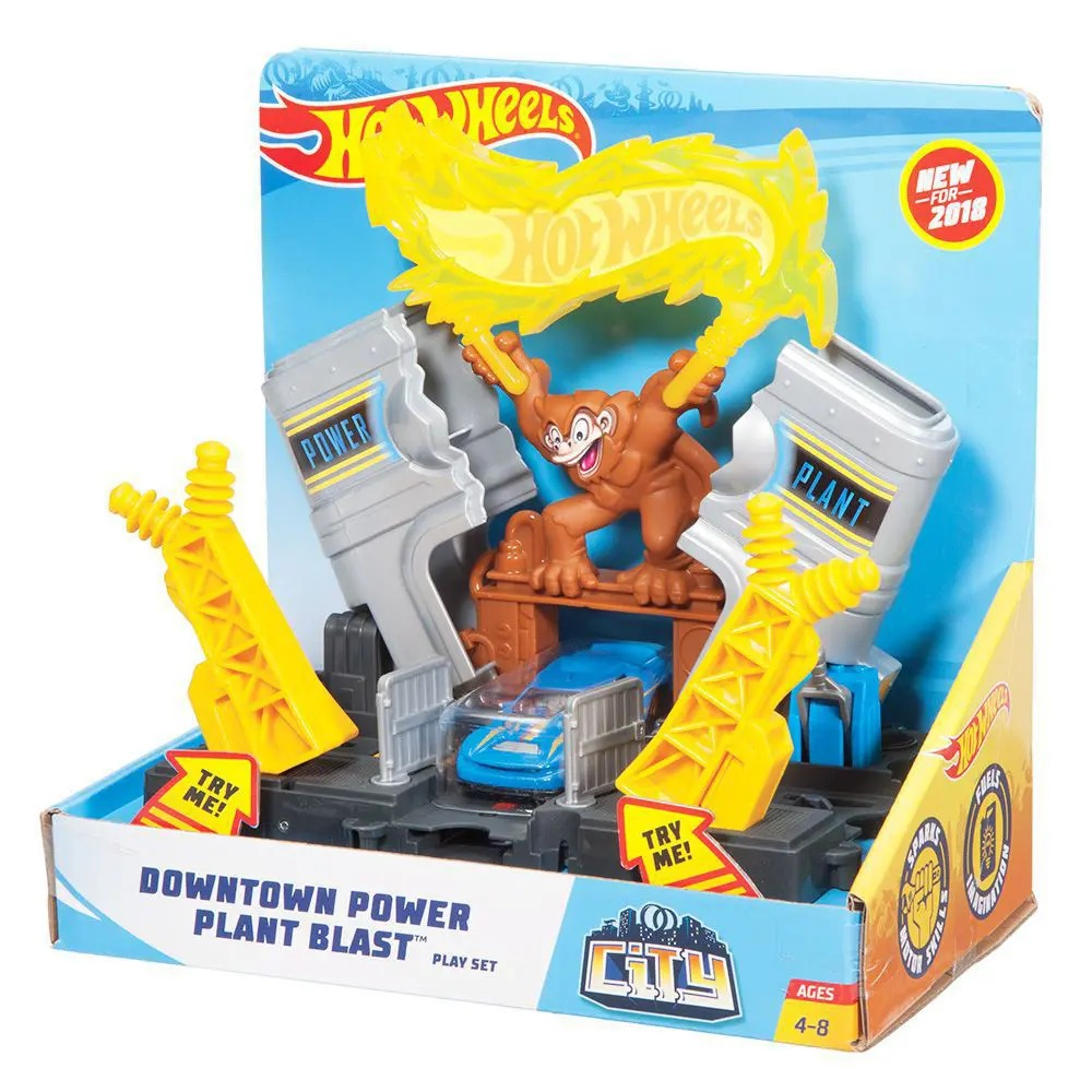 Conjunto Básico Hot Wheels City Usina Elétrica Com 01 Carrinho Mattel