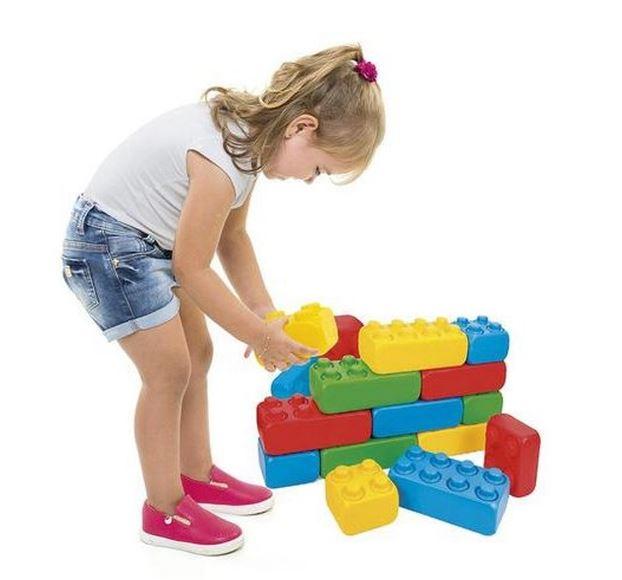 Conjunto Blocos De Montar Infantil 25 Peças Coloridas Brinquedo Educativo Poliblock