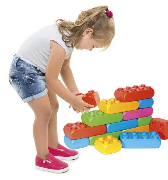 Conjunto Blocos De Montar Infantil 60 Peças Brinquedo Educativo Colorido Poliblock