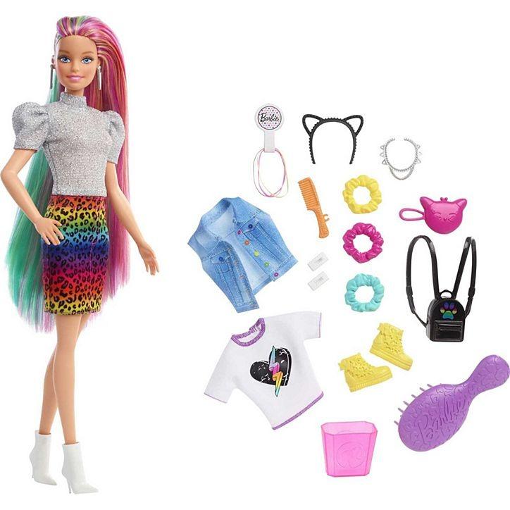 Conjunto Boneca Barbie Cabelo Colorido E Raspado Muda De Cor Com Acessórios Mattel