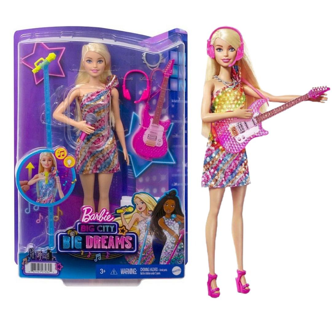 Conjunto Boneca Barbie Cantora Malibu Com Luzes Sons e Acessórios Musicais Mattel GYJ23