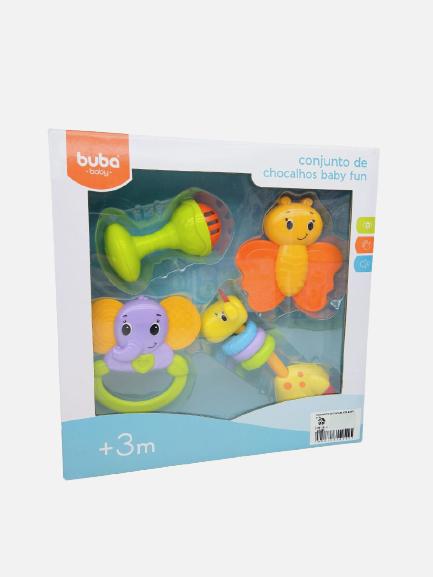 Conjunto Colorido De Chocalhos Baby Fun 10650 Buba