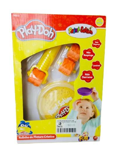 Conjunto de Artes Play-Doh Rolinho De Pintura Com Estampas Diversas E Pote De Tinta Cor Amarela