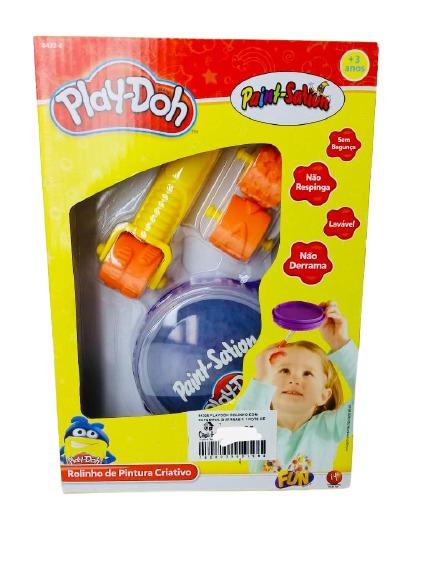 Conjunto de Artes Play-Doh Rolinho De Pintura Com Estampas Diversas E Pote De Tinta Cor Roxa