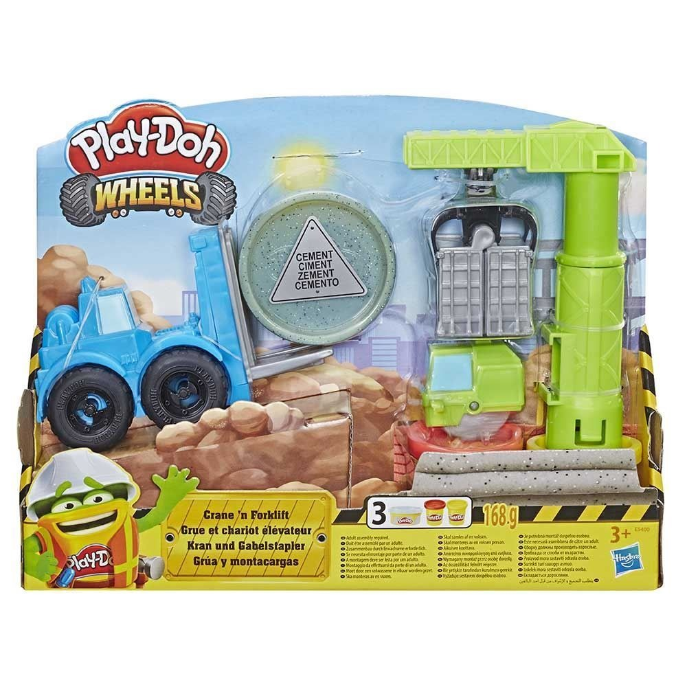 Conjunto De Massinha de Modelar Play Doh  Wheels Guindaste e Empilhadeira Hasbro