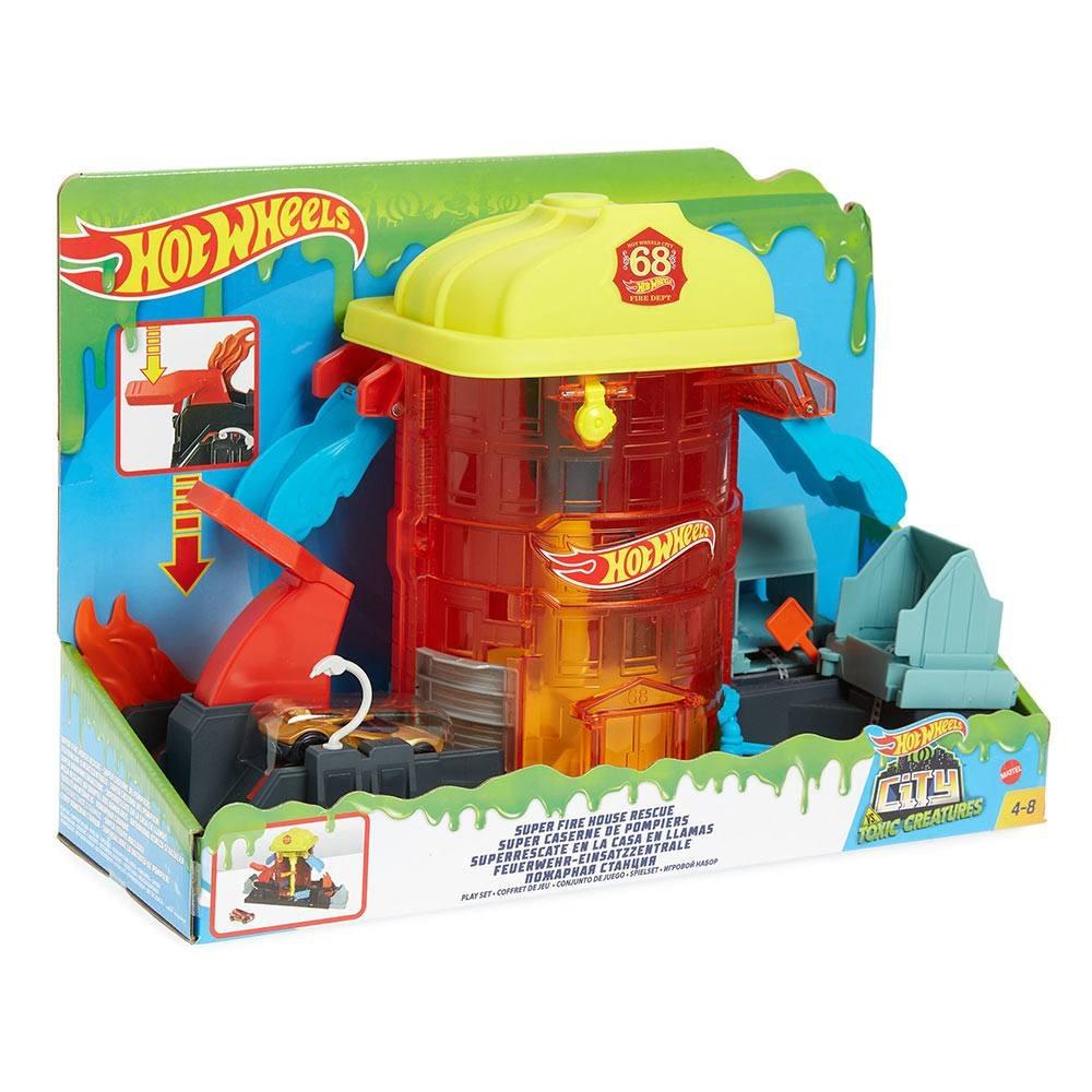 Conjunto Hot Wheels City Super Quartel Dos Bombeiros Com Carrinho Mattel