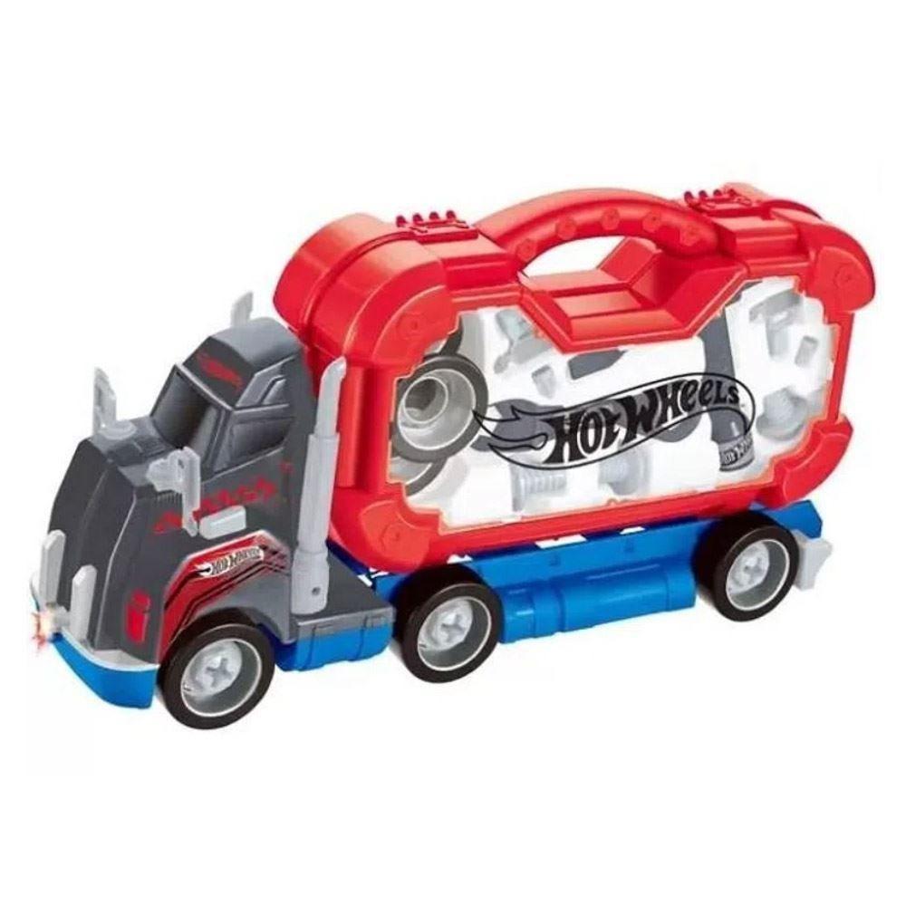 Conjunto Hot Wheels Monte e Desmonte Seu Caminhão De Ferramentas Com Luz e Som Fun