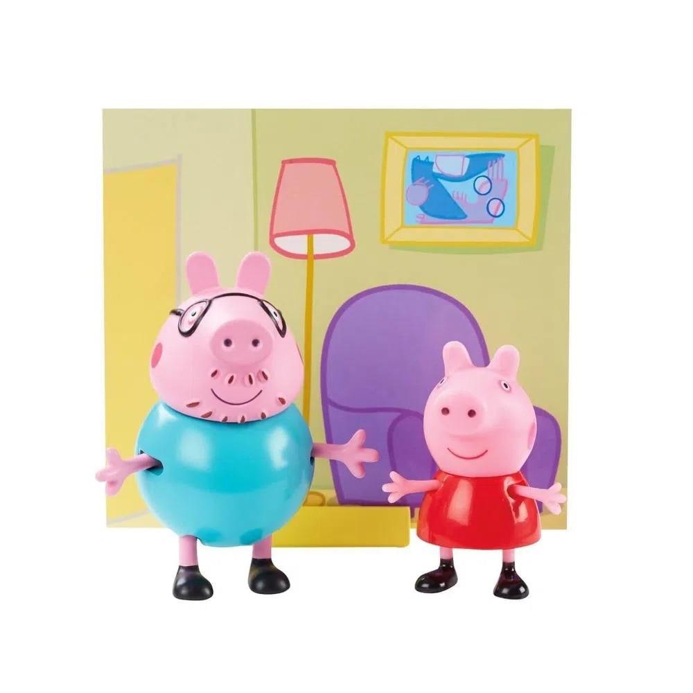 Conjunto Mini Figuras Com Acessórios Peppa Pig e Papai Pig Sunny