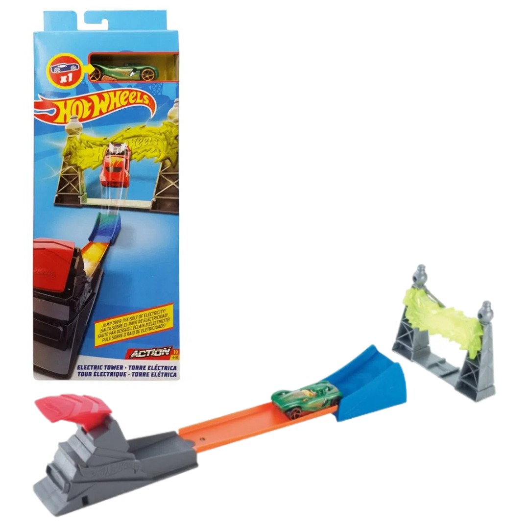 Conjunto Pista De Percurso Hot Wheels Action Com 1x Carrinho  Set De Acrobacias Torre Elétrica Mattel
