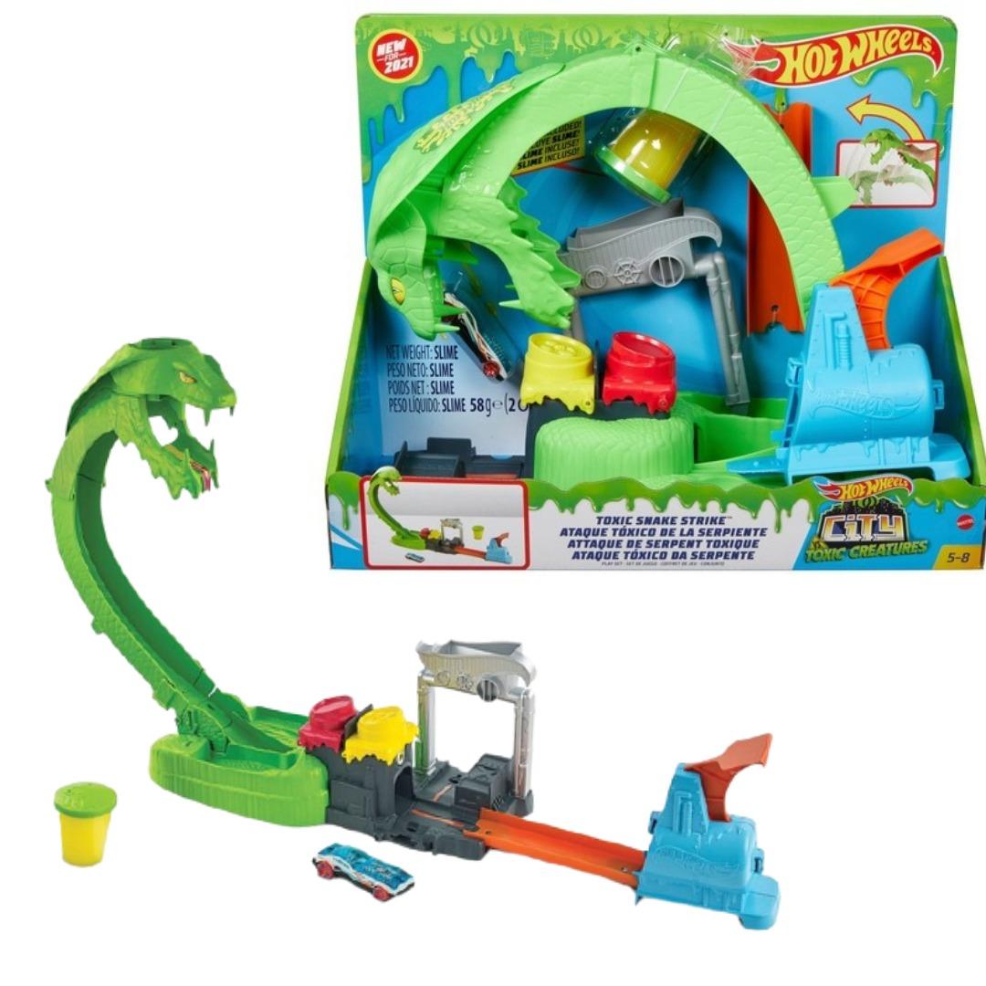 Conjunto Pista De Percurso Hot Wheels City Ataque Tóxico Da Serpente Com Slime Mattel
