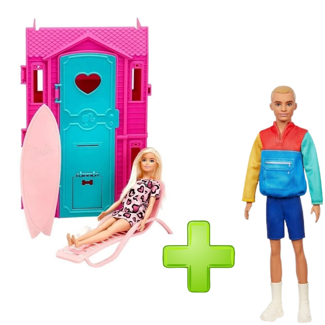 Conjunto Playset Studio De Surf Da Barbie Com Boneca + Ken Fashionista Cabelo Loiro Esculpido 163 Mattel