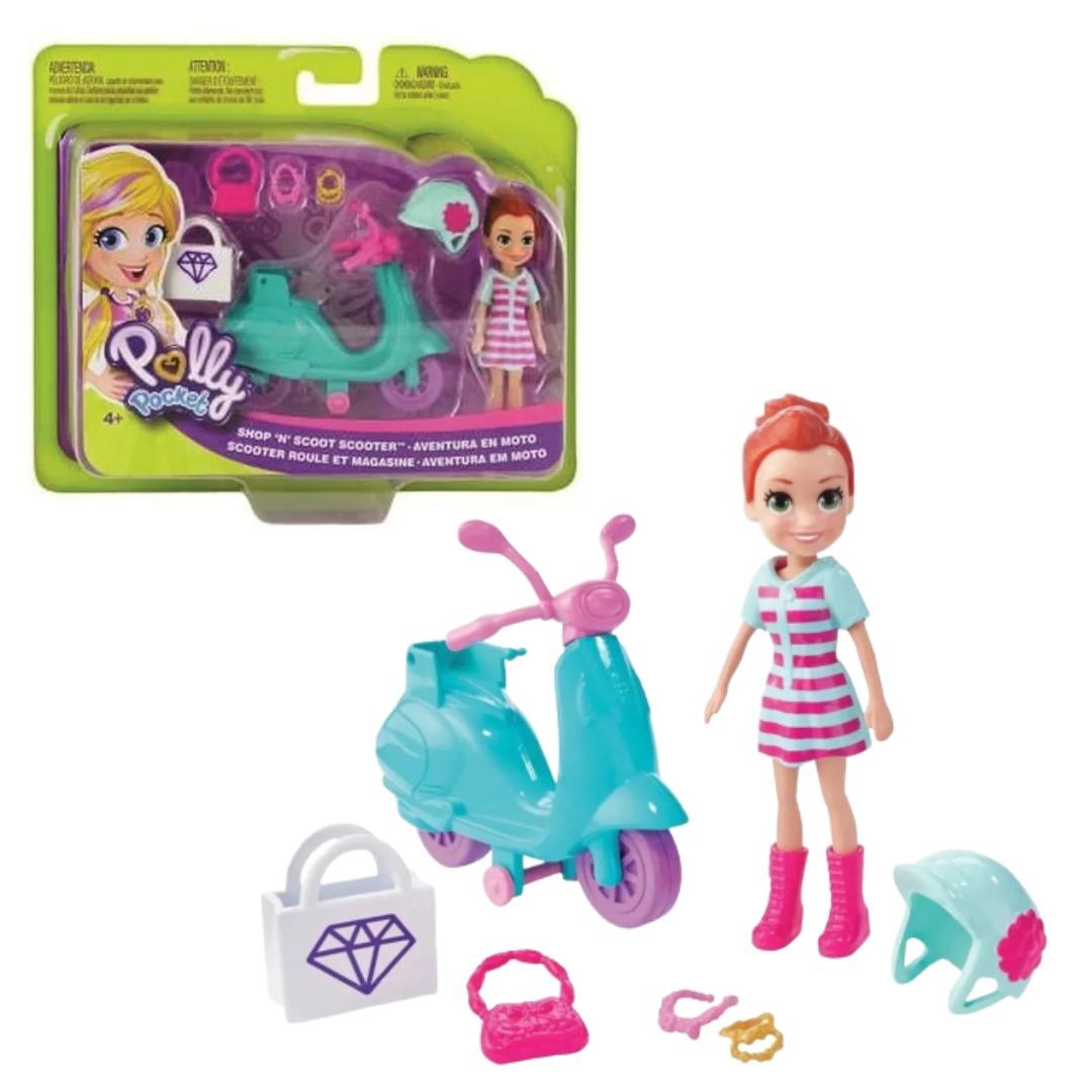 Conjunto Polly Pocket Aventura Em Moto Com Boneca Lila E Acessórios Mattel