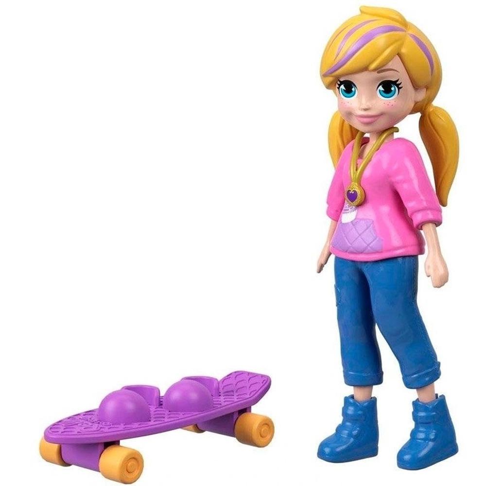 Conjunto Polly Pocket Com Boneca Polly Skatista E Skate Mattel