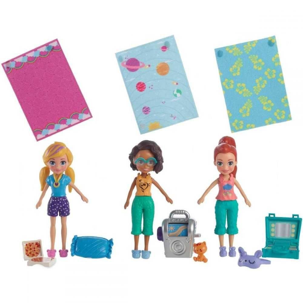 Conjunto Polly Pocket Kit Com 3 Bonecas Festa Do Pijama Mattel