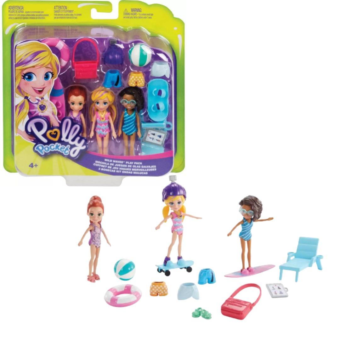 Conjunto Polly Pocket Kit Ondas Malucas Com 3 Bonecas Mattel