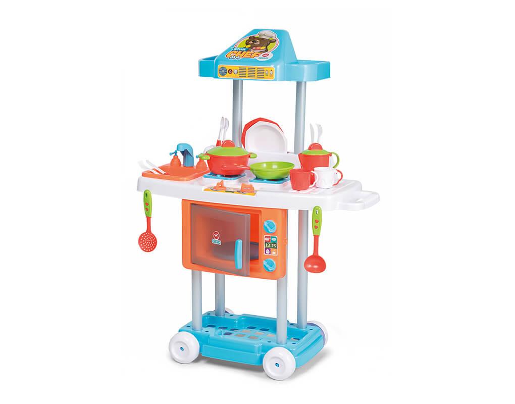 Cozinha Infantil Com Rodinhas e Acessórios Riva Mr. Chef Azul Calesita Ta Te Ti Brinquedos