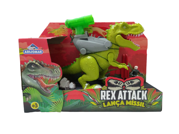 Dinossauro Articulado Rex  Attack Lança Míssil  28 cm 0863 Verde Adijomar