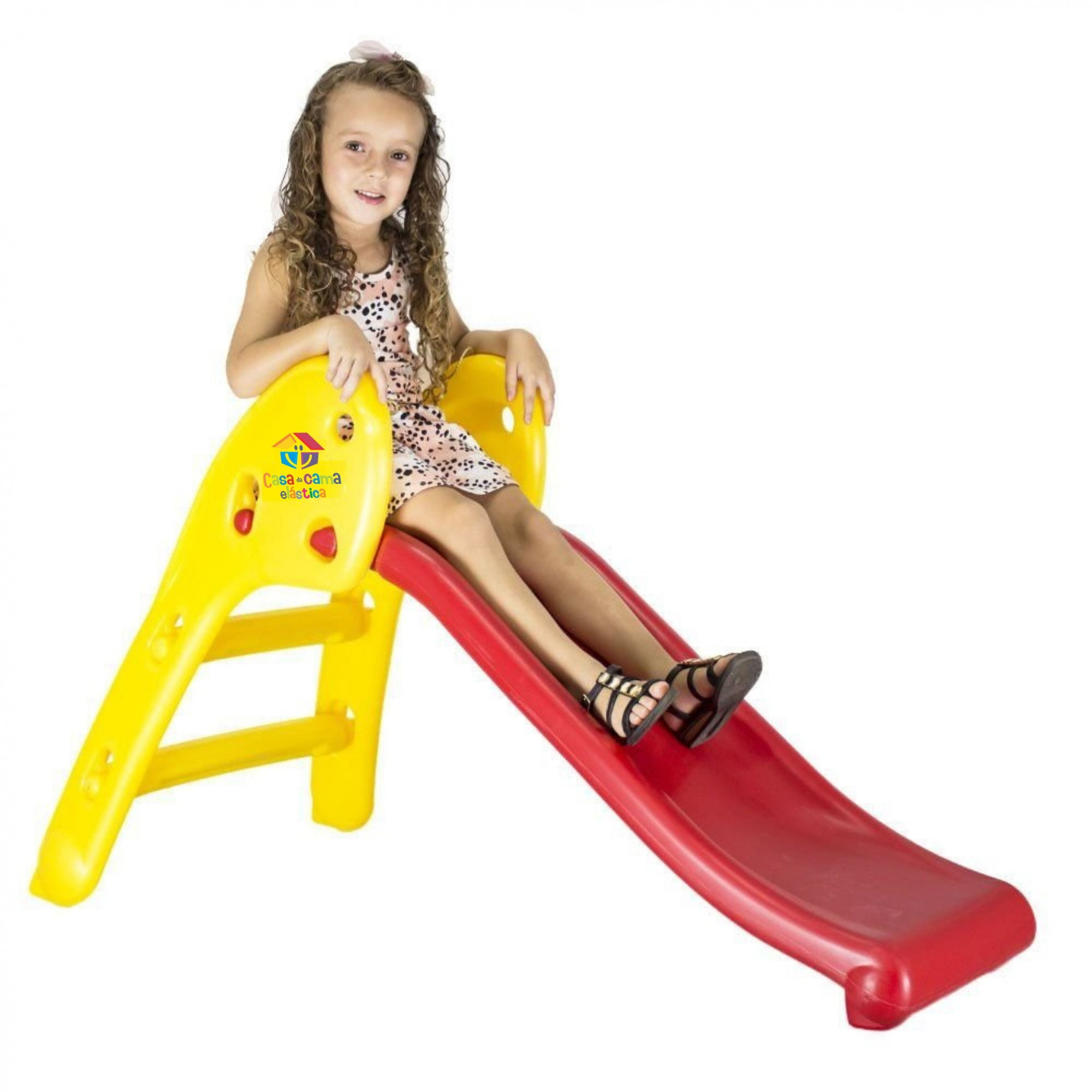 Escorregador Baby 2 Degraus Rampa Vermelha Escada Amarela Casinha Brinquedos