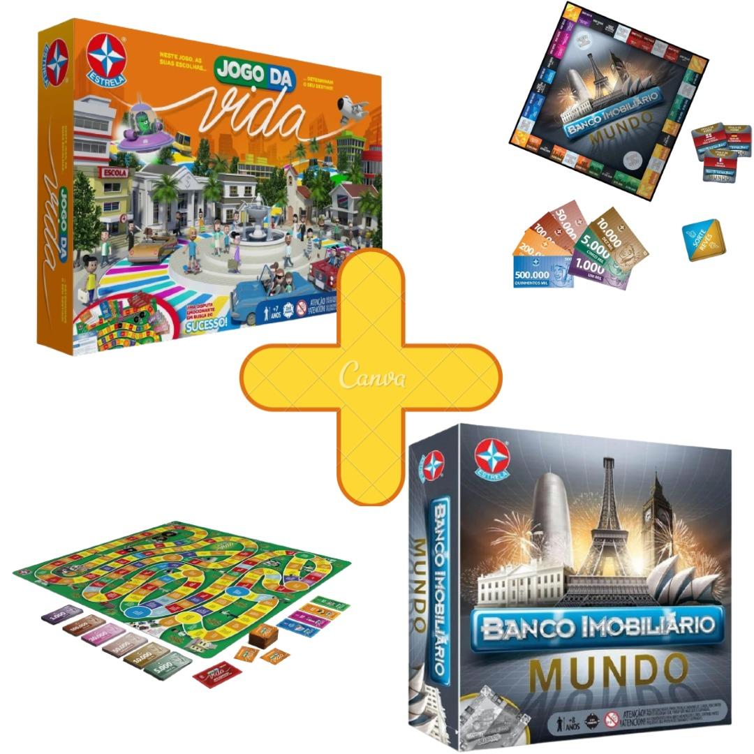 Jogo Da Vida Com Aplicativo Nova Edição + Banco Imobiliário Mundo Combo Jogos De Tabuleiro Estrela