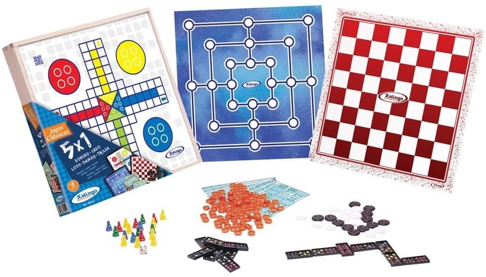 Jogo De Tabuleiro 5x1 Dominó+Ludo+Damas+Trilha+Loto Xalingo Jogos Clássicos