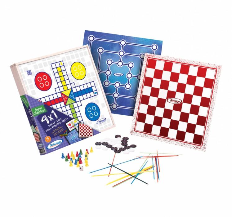 Jogo De Tabuleiro Em Madeira 4 x 1 Dama + Ludo + Trilha + Pega Varetas Xalingo